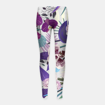 Thumbnail image of Orchid and purple and green tropical palm and monstera leaves pattern Girl's leggings, Live Heroes