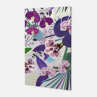 Thumbnail image of Orchid and purple and green tropical palm and monstera leaves pattern Canvas, Live Heroes