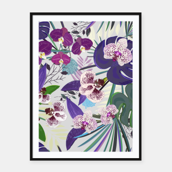Thumbnail image of Orchid and purple and green tropical palm and monstera leaves pattern Framed poster, Live Heroes