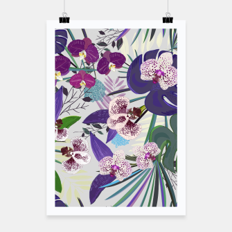 Thumbnail image of Orchid and purple and green tropical palm and monstera leaves pattern Poster, Live Heroes