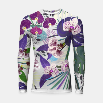 Thumbnail image of Orchid and purple and green tropical palm and monstera leaves pattern Longsleeve rashguard , Live Heroes