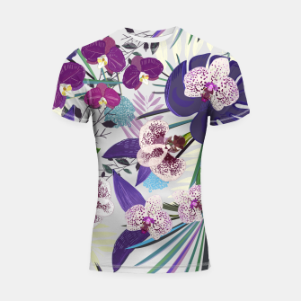Thumbnail image of Orchid and purple and green tropical palm and monstera leaves pattern Shortsleeve rashguard, Live Heroes