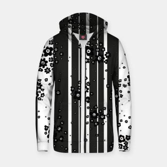 Thumbnail image of  Artistic, Black, Black and white, Cute, Daisy, Ditsy, Hand drawn, Lines, Simple, Spring/summer, Stylised floral, pattern Zip up hoodie, Live Heroes