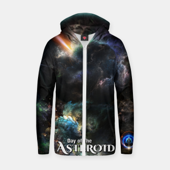 Thumbnail image of Day Of The Asteroid SciFi Fractal Art Zip up hoodie, Live Heroes