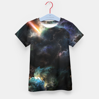 Thumbnail image of Day Of The Asteroid SciFi Fractal Art Kid's t-shirt, Live Heroes