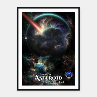 Thumbnail image of Day Of The Asteroid SciFi Fractal Art Framed poster, Live Heroes