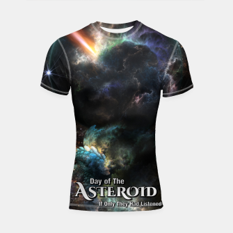 Thumbnail image of Day Of The Asteroid SciFi Fractal Art Shortsleeve rashguard, Live Heroes
