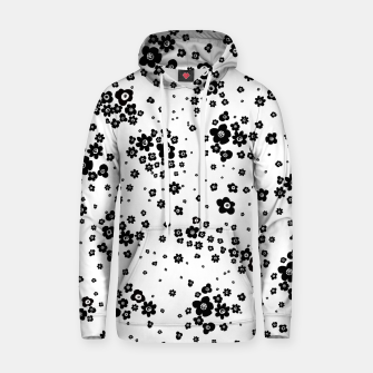Thumbnail image of Minute details Black and white artistic wild ditsy flowers pattern Hoodie, Live Heroes