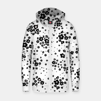 Thumbnail image of Minute details Black and white artistic wild ditsy flowers pattern Zip up hoodie, Live Heroes