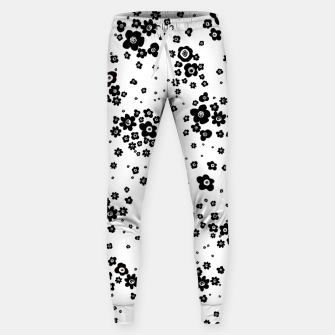 Thumbnail image of Minute details Black and white artistic wild ditsy flowers pattern Sweatpants, Live Heroes