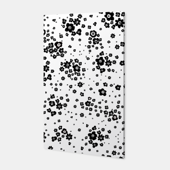 Thumbnail image of Minute details Black and white artistic wild ditsy flowers pattern Canvas, Live Heroes