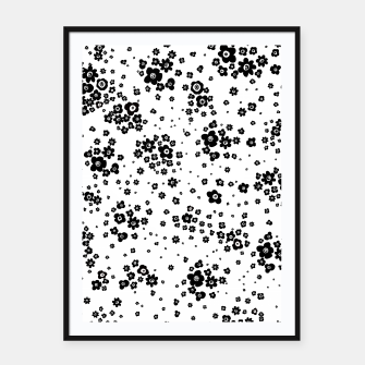 Thumbnail image of Minute details Black and white artistic wild ditsy flowers pattern Framed poster, Live Heroes