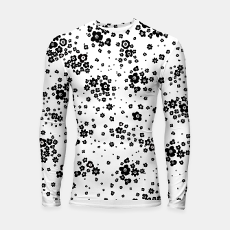 Thumbnail image of Minute details Black and white artistic wild ditsy flowers pattern Longsleeve rashguard , Live Heroes