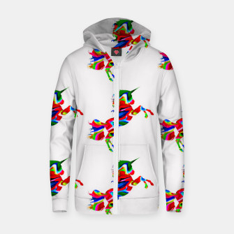 Thumbnail image of Watercolor unicorns-White Sudadera con capucha y cremallera , Live Heroes