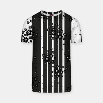 Thumbnail image of  Artistic, Black, Black and white, Cute, Daisy, Ditsy, Hand drawn, Lines, Simple, Spring/summer, Stylised floral, pattern T-shirt, Live Heroes
