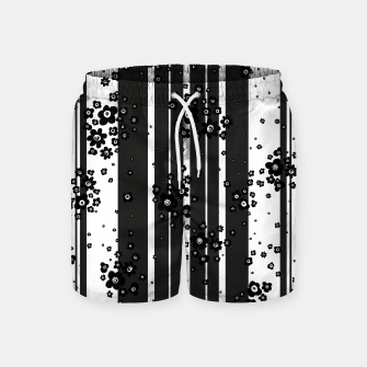 Thumbnail image of  Artistic, Black, Black and white, Cute, Daisy, Ditsy, Hand drawn, Lines, Simple, Spring/summer, Stylised floral, pattern Swim Shorts, Live Heroes