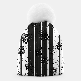 Thumbnail image of  Artistic, Black, Black and white, Cute, Daisy, Ditsy, Hand drawn, Lines, Simple, Spring/summer, Stylised floral, pattern Beanie, Live Heroes