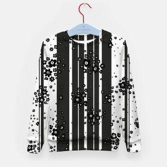 Thumbnail image of  Artistic, Black, Black and white, Cute, Daisy, Ditsy, Hand drawn, Lines, Simple, Spring/summer, Stylised floral, pattern Kid's sweater, Live Heroes