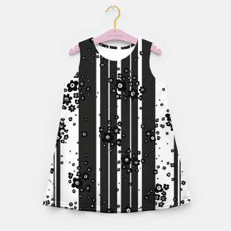 Thumbnail image of  Artistic, Black, Black and white, Cute, Daisy, Ditsy, Hand drawn, Lines, Simple, Spring/summer, Stylised floral, pattern Girl's summer dress, Live Heroes