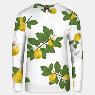 Thumbnail image of Lemon tree and lemon flowers pattern white background Unisex sweater, Live Heroes