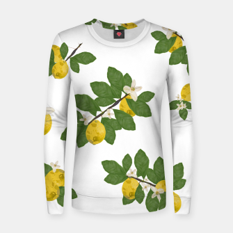 Thumbnail image of Lemon tree and lemon flowers pattern white background Women sweater, Live Heroes
