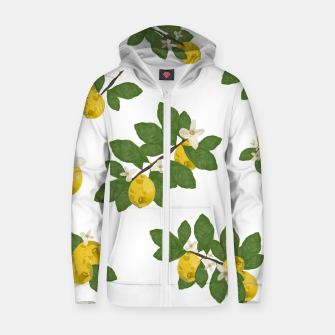 Thumbnail image of Lemon tree and lemon flowers pattern white background Zip up hoodie, Live Heroes