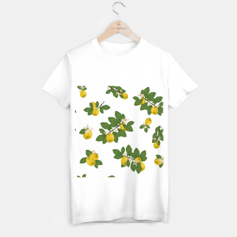 Thumbnail image of Lemon tree and lemon flowers pattern white background T-shirt regular, Live Heroes