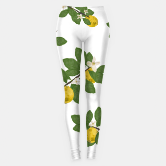 Thumbnail image of Lemon tree and lemon flowers pattern white background Leggings, Live Heroes