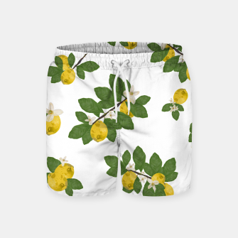 Thumbnail image of Lemon tree and lemon flowers pattern white background Swim Shorts, Live Heroes