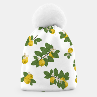 Thumbnail image of Lemon tree and lemon flowers pattern white background Beanie, Live Heroes