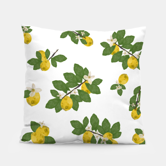 Thumbnail image of Lemon tree and lemon flowers pattern white background Pillow, Live Heroes