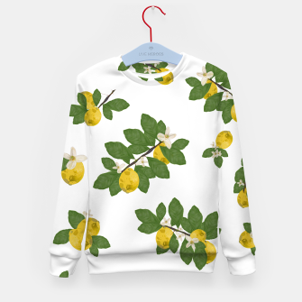 Thumbnail image of Lemon tree and lemon flowers pattern white background Kid's sweater, Live Heroes