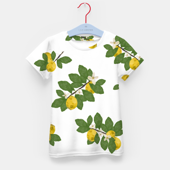 Thumbnail image of Lemon tree and lemon flowers pattern white background Kid's t-shirt, Live Heroes