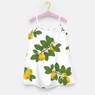 Thumbnail image of Lemon tree and lemon flowers pattern white background Girl's dress, Live Heroes