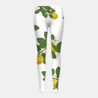 Thumbnail image of Lemon tree and lemon flowers pattern white background Girl's leggings, Live Heroes