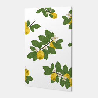 Miniaturka Lemon tree and lemon flowers pattern white background Canvas, Live Heroes