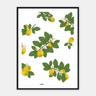 Thumbnail image of Lemon tree and lemon flowers pattern white background Framed poster, Live Heroes