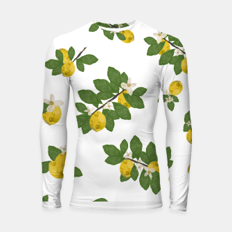 Thumbnail image of Lemon tree and lemon flowers pattern white background Longsleeve rashguard , Live Heroes
