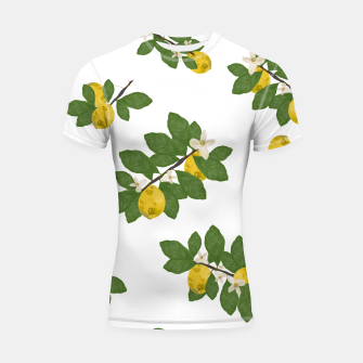 Thumbnail image of Lemon tree and lemon flowers pattern white background Shortsleeve rashguard, Live Heroes
