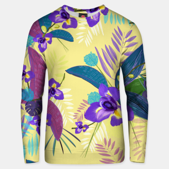 Thumbnail image of Iris flower purple tropical leaves pattern with yellow background Unisex sweater, Live Heroes