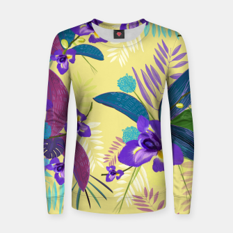 Thumbnail image of Iris flower purple tropical leaves pattern with yellow background Women sweater, Live Heroes