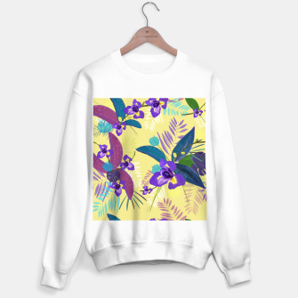 Thumbnail image of Iris flower purple tropical leaves pattern with yellow background Sweater regular, Live Heroes