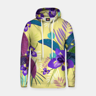 Thumbnail image of Iris flower purple tropical leaves pattern with yellow background Hoodie, Live Heroes