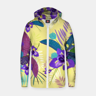 Thumbnail image of Iris flower purple tropical leaves pattern with yellow background Zip up hoodie, Live Heroes
