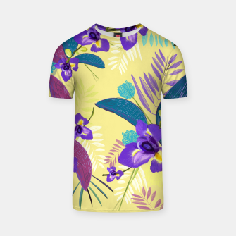 Thumbnail image of Iris flower purple tropical leaves pattern with yellow background T-shirt, Live Heroes