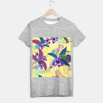 Thumbnail image of Iris flower purple tropical leaves pattern with yellow background T-shirt regular, Live Heroes