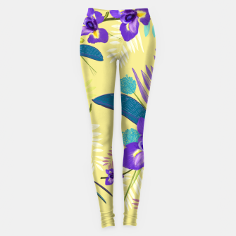 Thumbnail image of Iris flower purple tropical leaves pattern with yellow background Leggings, Live Heroes