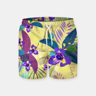 Thumbnail image of Iris flower purple tropical leaves pattern with yellow background Swim Shorts, Live Heroes