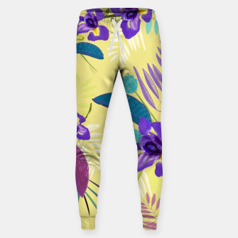 Thumbnail image of Iris flower purple tropical leaves pattern with yellow background Sweatpants, Live Heroes