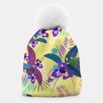 Thumbnail image of Iris flower purple tropical leaves pattern with yellow background Beanie, Live Heroes